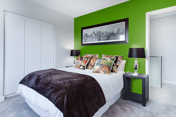 Pretty Photo frame on Scheele's Green color Bedroom interior wall color
