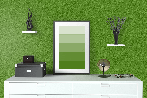 Pretty Photo frame on Scheele's Green color drawing room interior textured wall