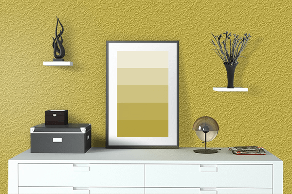 Pretty Photo frame on Gold CMYK color drawing room interior textured wall