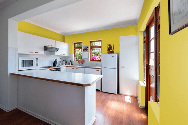 Pretty Photo frame on Gold CMYK color kitchen interior wall color