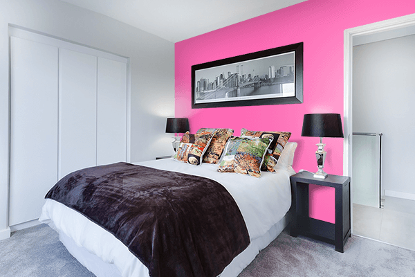 Pretty Photo frame on Hot Pink color Bedroom interior wall color