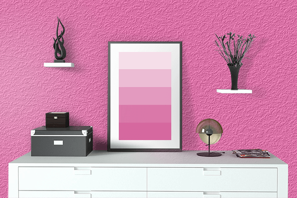 Pretty Photo frame on Hot Pink color drawing room interior textured wall