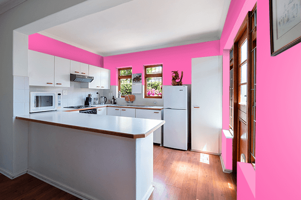 Pretty Photo frame on Hot Pink color kitchen interior wall color
