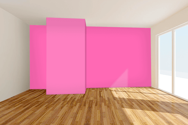 Pretty Photo frame on Hot Pink color Living room wal color