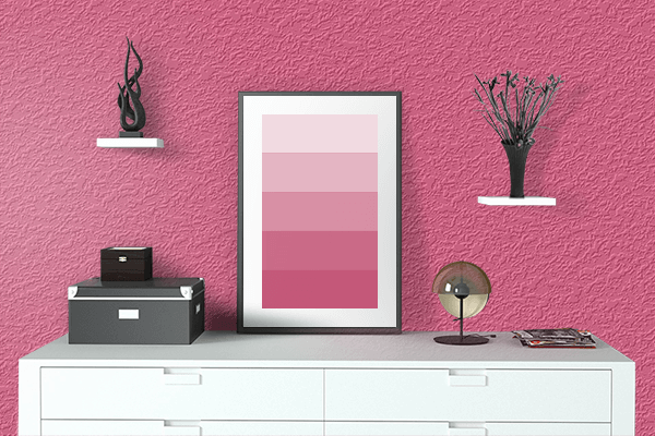 Pretty Photo frame on Dark Pink color drawing room interior textured wall