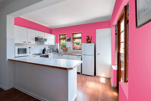 Pretty Photo frame on Dark Pink color kitchen interior wall color
