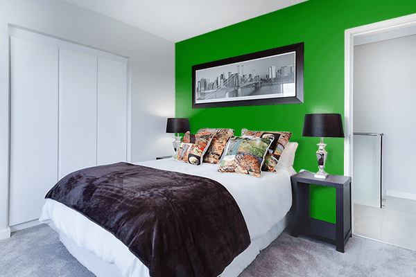 Pretty Photo frame on Green color Bedroom interior wall color