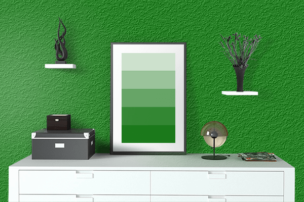 Pretty Photo frame on Green color drawing room interior textured wall