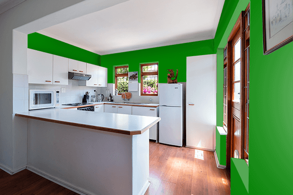Pretty Photo frame on Green color kitchen interior wall color