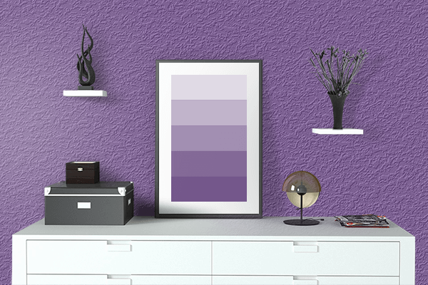 Pretty Photo frame on Light Violet color drawing room interior textured wall
