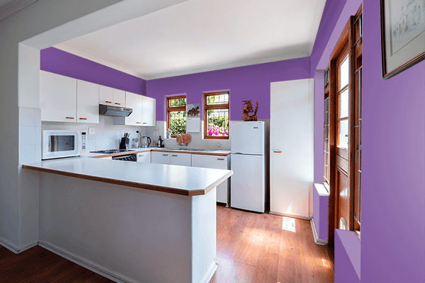 Pretty Photo frame on Light Violet color kitchen interior wall color