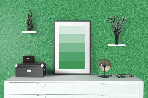 Pretty Photo frame on Retro Green color drawing room interior textured wall
