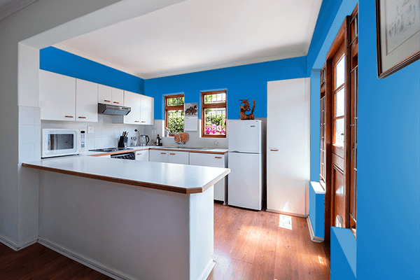Pretty Photo frame on Spanish Blue color kitchen interior wall color