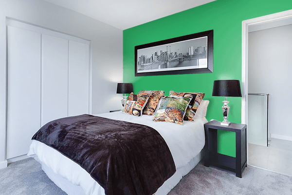 Pretty Photo frame on Island Green color Bedroom interior wall color