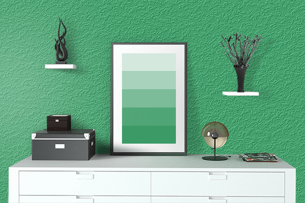 Pretty Photo frame on Island Green color drawing room interior textured wall