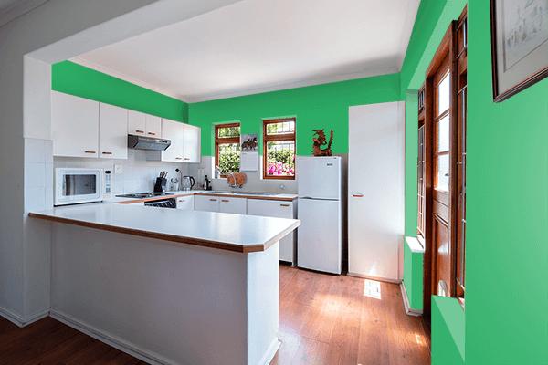 Pretty Photo frame on Island Green color kitchen interior wall color