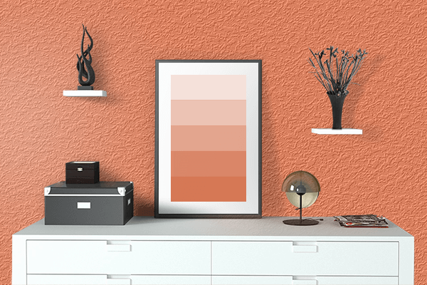 Pretty Photo frame on Coral color drawing room interior textured wall