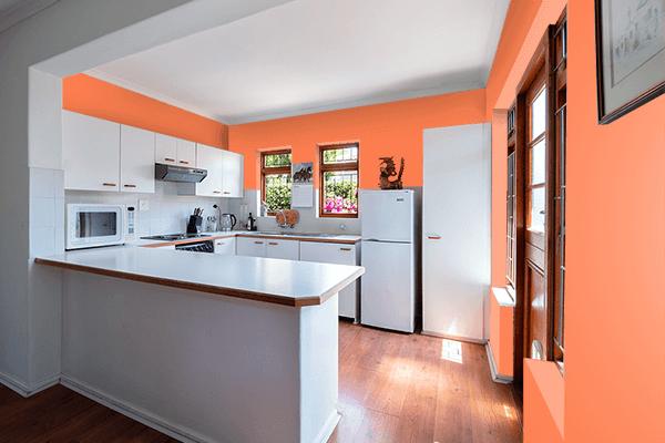 Pretty Photo frame on Coral color kitchen interior wall color
