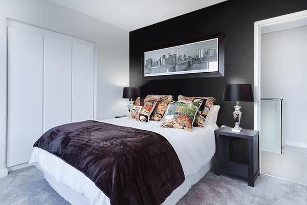 Pretty Photo frame on Jet Black color Bedroom interior wall color