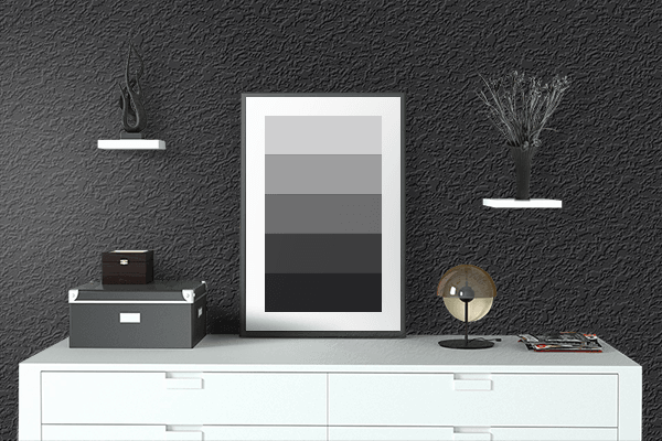 Pretty Photo frame on Jet Black color drawing room interior textured wall