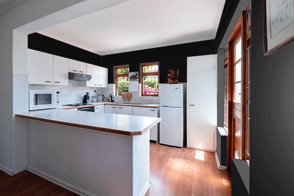 Pretty Photo frame on Jet Black color kitchen interior wall color