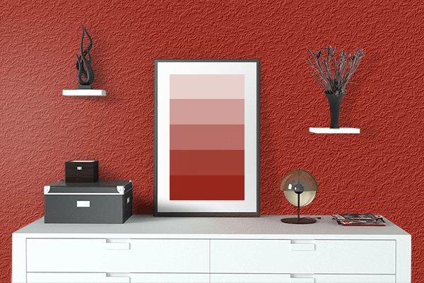 Pretty Photo frame on Turkey Red color drawing room interior textured wall