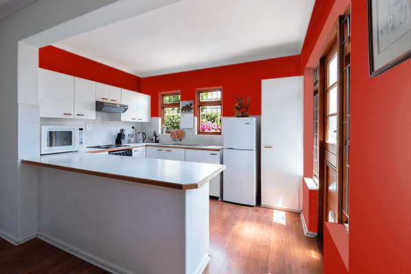Pretty Photo frame on Turkey Red color kitchen interior wall color