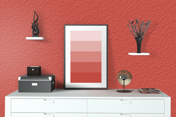 Pretty Photo frame on Vermillion color drawing room interior textured wall