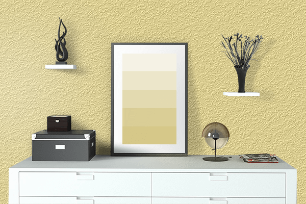 Pretty Photo frame on Light Canary Yellow color drawing room interior textured wall