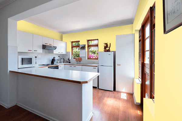 Pretty Photo frame on Light Canary Yellow color kitchen interior wall color
