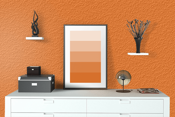 Pretty Photo frame on Pumpkin color drawing room interior textured wall