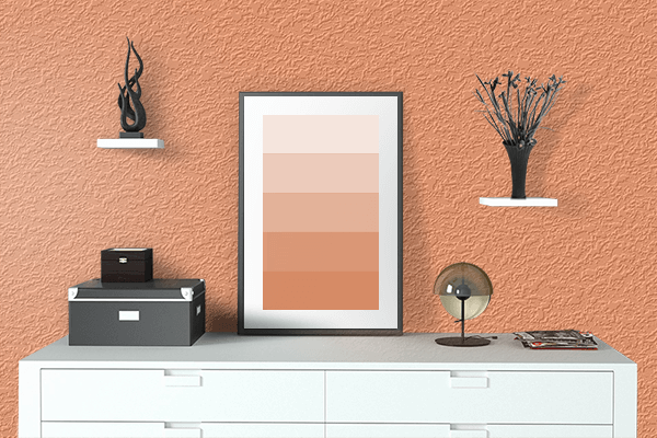 Pretty Photo frame on Atomic Tangerine color drawing room interior textured wall