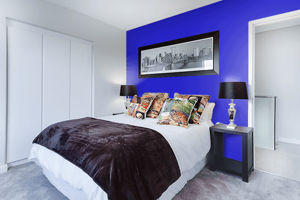 Pretty Photo frame on Permanent Blue color Bedroom interior wall color