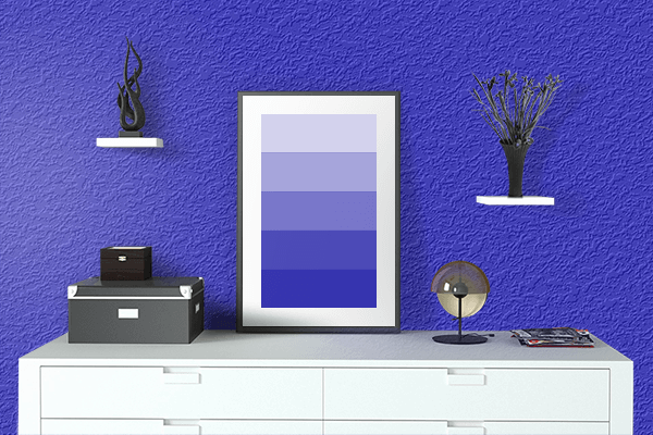 Pretty Photo frame on Permanent Blue color drawing room interior textured wall