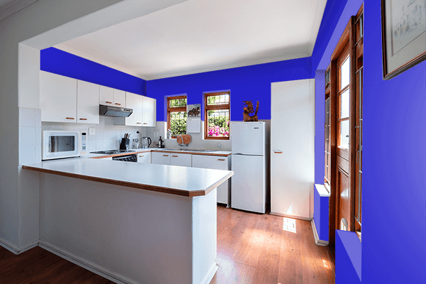 Pretty Photo frame on Permanent Blue color kitchen interior wall color