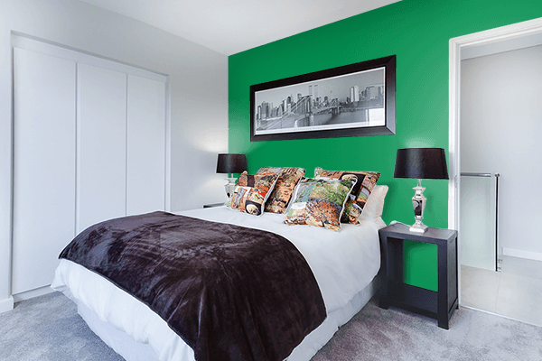 Pretty Photo frame on Green Bee color Bedroom interior wall color