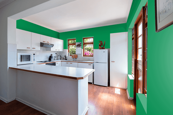 Pretty Photo frame on Green Bee color kitchen interior wall color