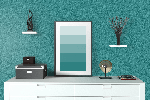 Pretty Photo frame on Turquoise Blue (RAL) color drawing room interior textured wall