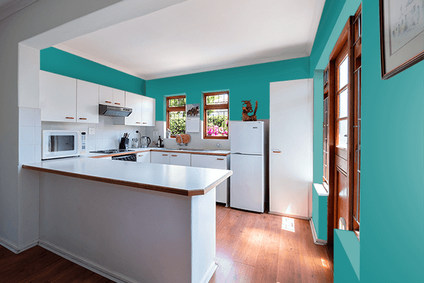 Pretty Photo frame on Turquoise Blue (RAL) color kitchen interior wall color