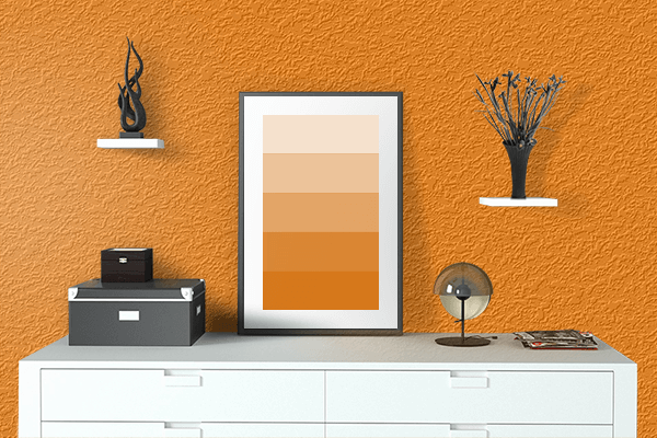 Pretty Photo frame on Orange (RGB) color drawing room interior textured wall