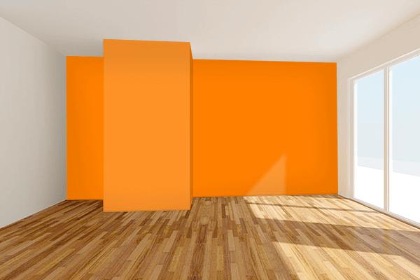 Pretty Photo frame on Orange (RGB) color Living room wal color