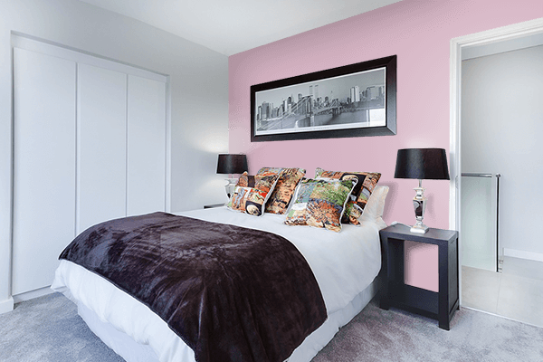 Pretty Photo frame on Dull Pink color Bedroom interior wall color