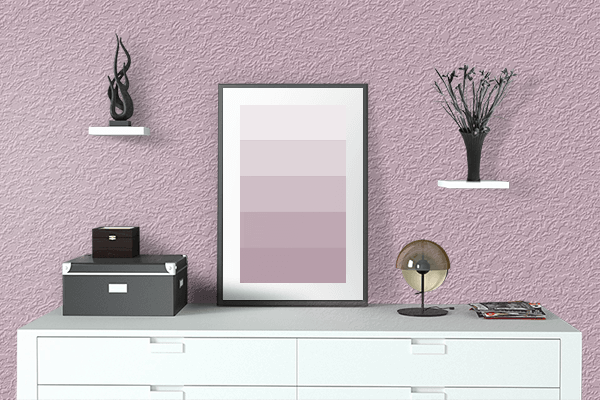 Pretty Photo frame on Dull Pink color drawing room interior textured wall