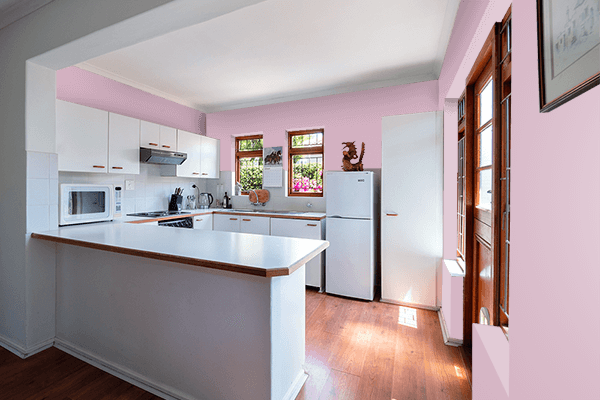 Pretty Photo frame on Dull Pink color kitchen interior wall color