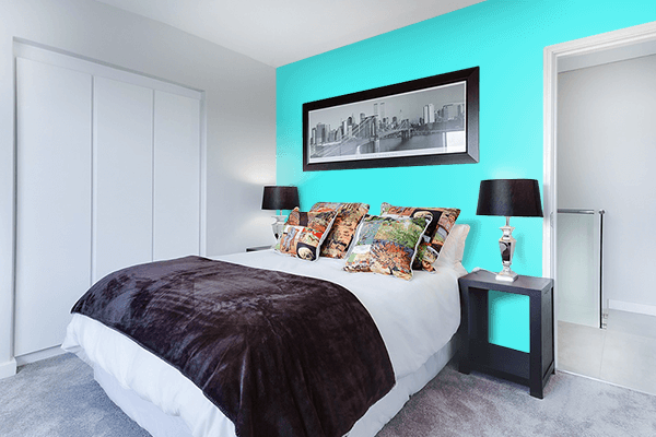 Pretty Photo frame on Fluorescent Blue color Bedroom interior wall color