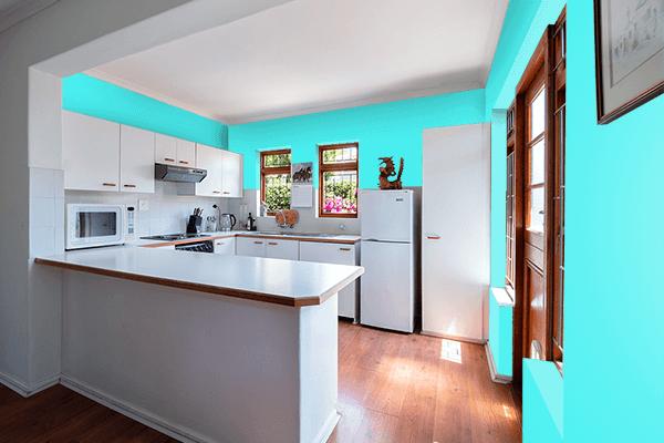 Pretty Photo frame on Fluorescent Blue color kitchen interior wall color
