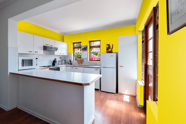 Pretty Photo frame on Safety Yellow (ANSI) color kitchen interior wall color