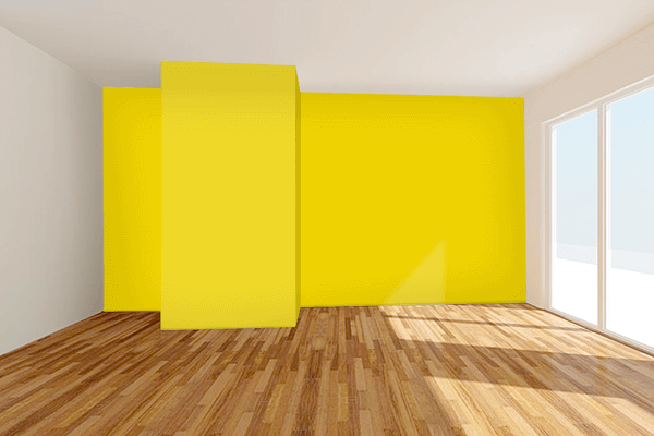 Pretty Photo frame on Safety Yellow (ANSI) color Living room wal color