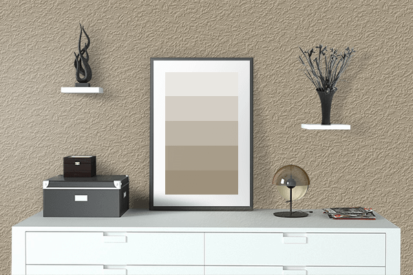 Pretty Photo frame on Beach color drawing room interior textured wall