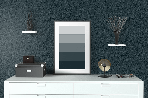Pretty Photo frame on Sap Green (Ferrario) color drawing room interior textured wall